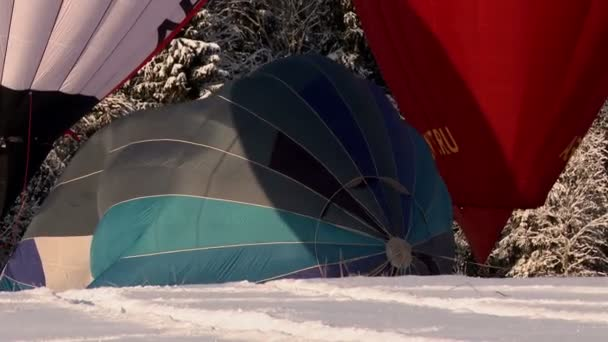 View of balloon filling with hot air