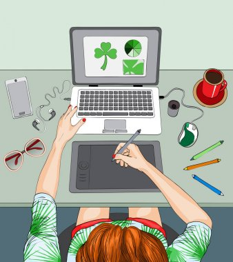 Woman working at the laptop, remote work