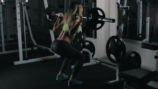 Fit girl with sexy body doing barbell workout routine in gym, healthy lifestyle