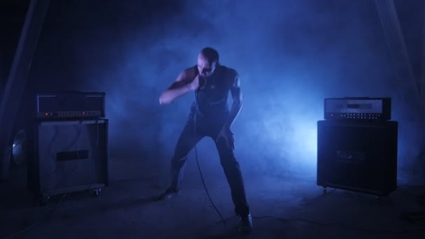 Male vocalist sings into the microphone. Concert rock band performing on stage with singer performer. Music video punk, heavy metal or rock group