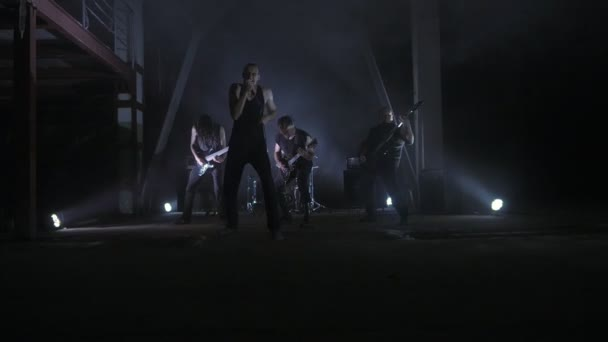 Footage from a music video of a real rock band.