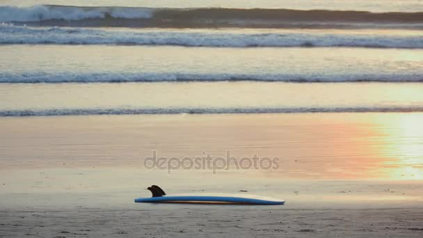 surfboard lies on the sand against a backdrop of beautiful ocean waves at sunset on tropical beach