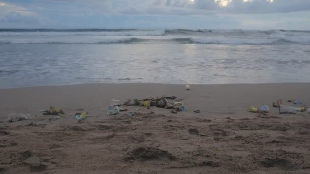 Time Lapse Of A Lot Of Trash And Plastic Wastes On Ocean Beach After