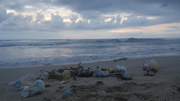 A Lot Of Trash And Plastic Wastes On Ocean Beach After The Storm