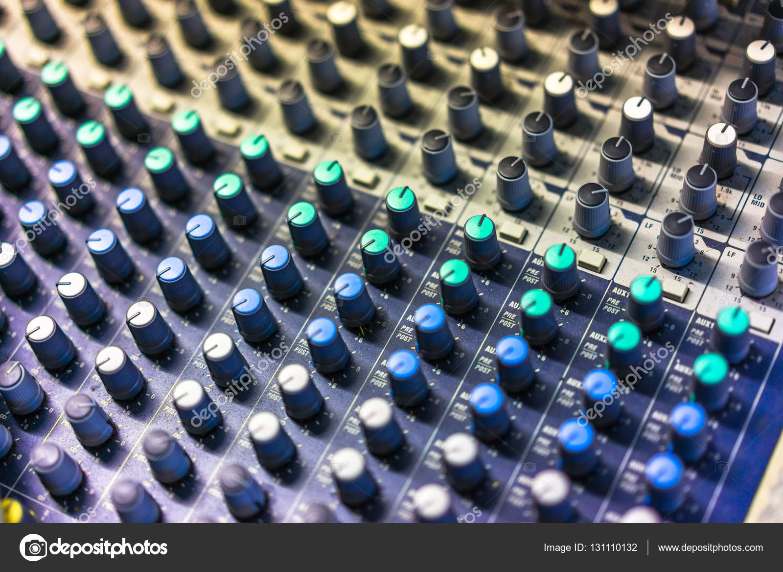 Full Frame Shot Of Sound Recording Equipment Stock Photo