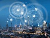 Wifi-Ikone und Stadtbild und Netzwerkverbindungskonzept