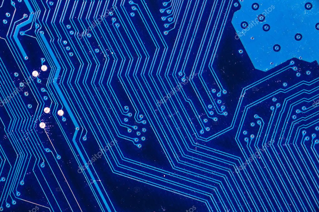 blue circuit board background of computer motherboard — Stock Photo ...
