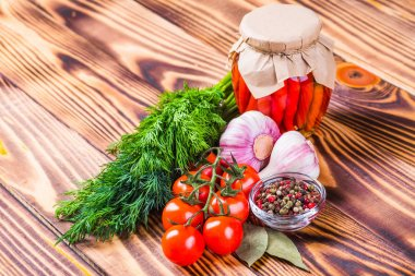 Vegetables on wood. Bio Healthy food, herbs and spices.