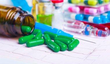 Drug prescription for treatment medication. Pharmaceutical medic