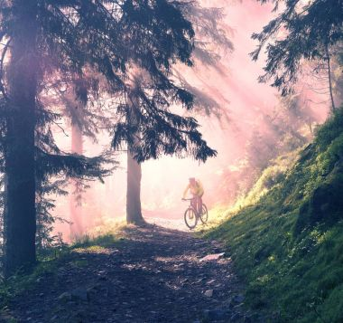 Man cycling a bike in mountains with sunny rays