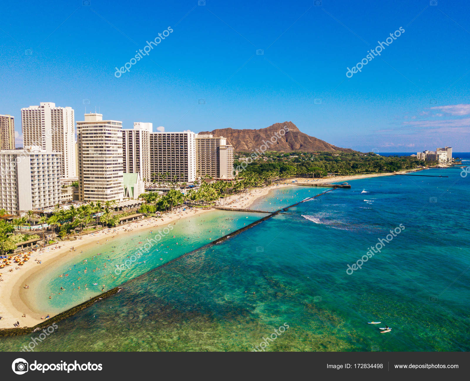Honolulu Hawaii Aerial Skyline View Of Diamond Head Volcano Including The Hotels And Buildings On Waikiki Beach