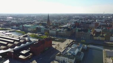 Beautiful aerial view of Malmo, Sweden from above. Amazing city skyline view.