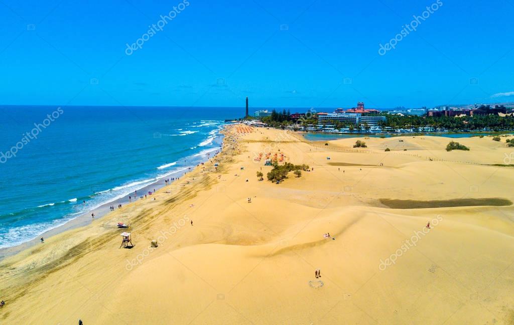 Aerial view of the Maspalomas dunes on Gran Canaria island.