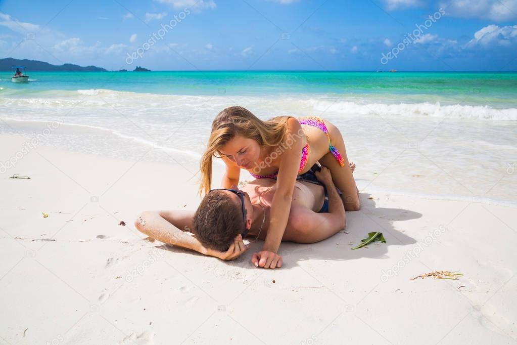 Romantic Beautiful Couple Lying Beach Beautiful Island