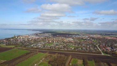 Amazing aerial view of the Sweden country from above. Near the Malmo city.