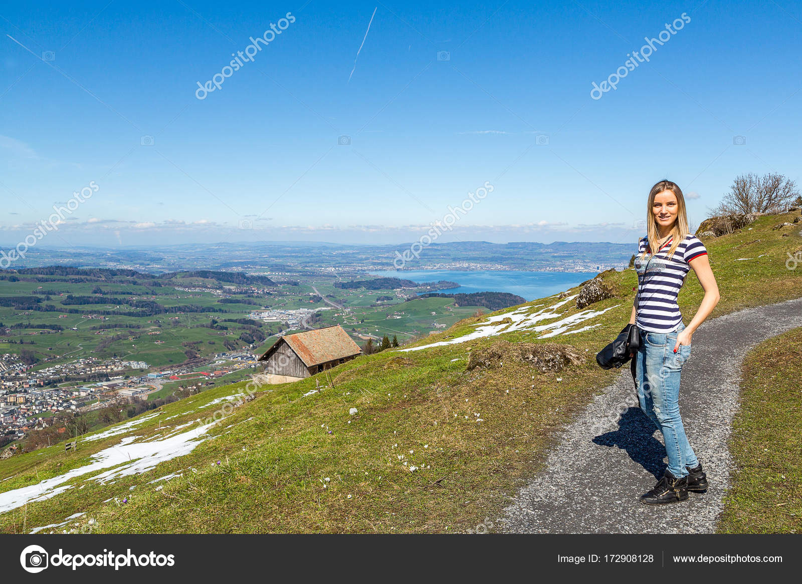 Beautiful Nature View In Mountains In Switzerland Beautiful Girl Hiking In The Mountains Photo By Ingus Kruklitis Gmail Com