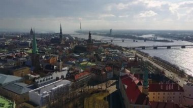 Simply amazing aerial Riga view from above with Dome cathedral, St. Peters church, TV tower and Daugava river
