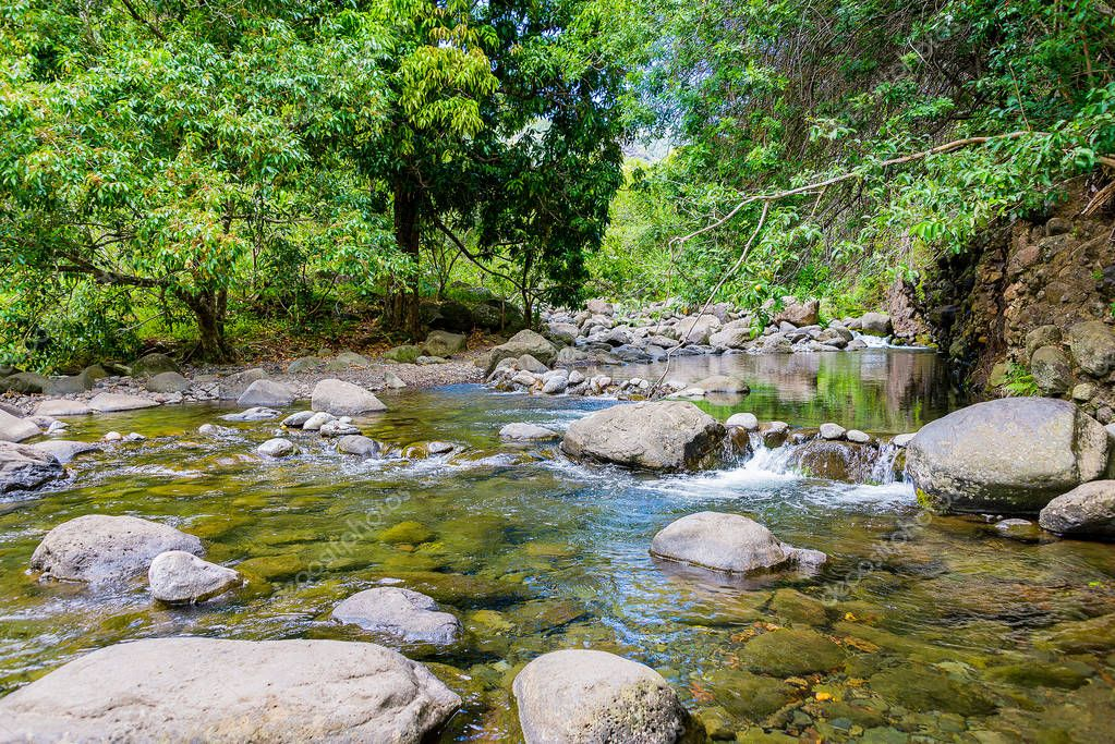 Beautiful nature river stream on the island of Maui, Hawaii