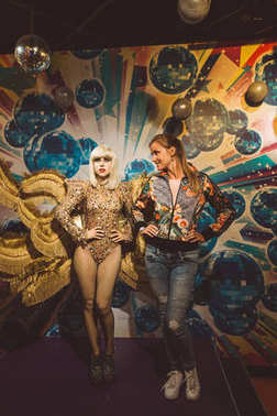 Girl standing by the Lady Gaga wax figure at Madame Tussauds in Sydney Australia as on 17 Jan 2017