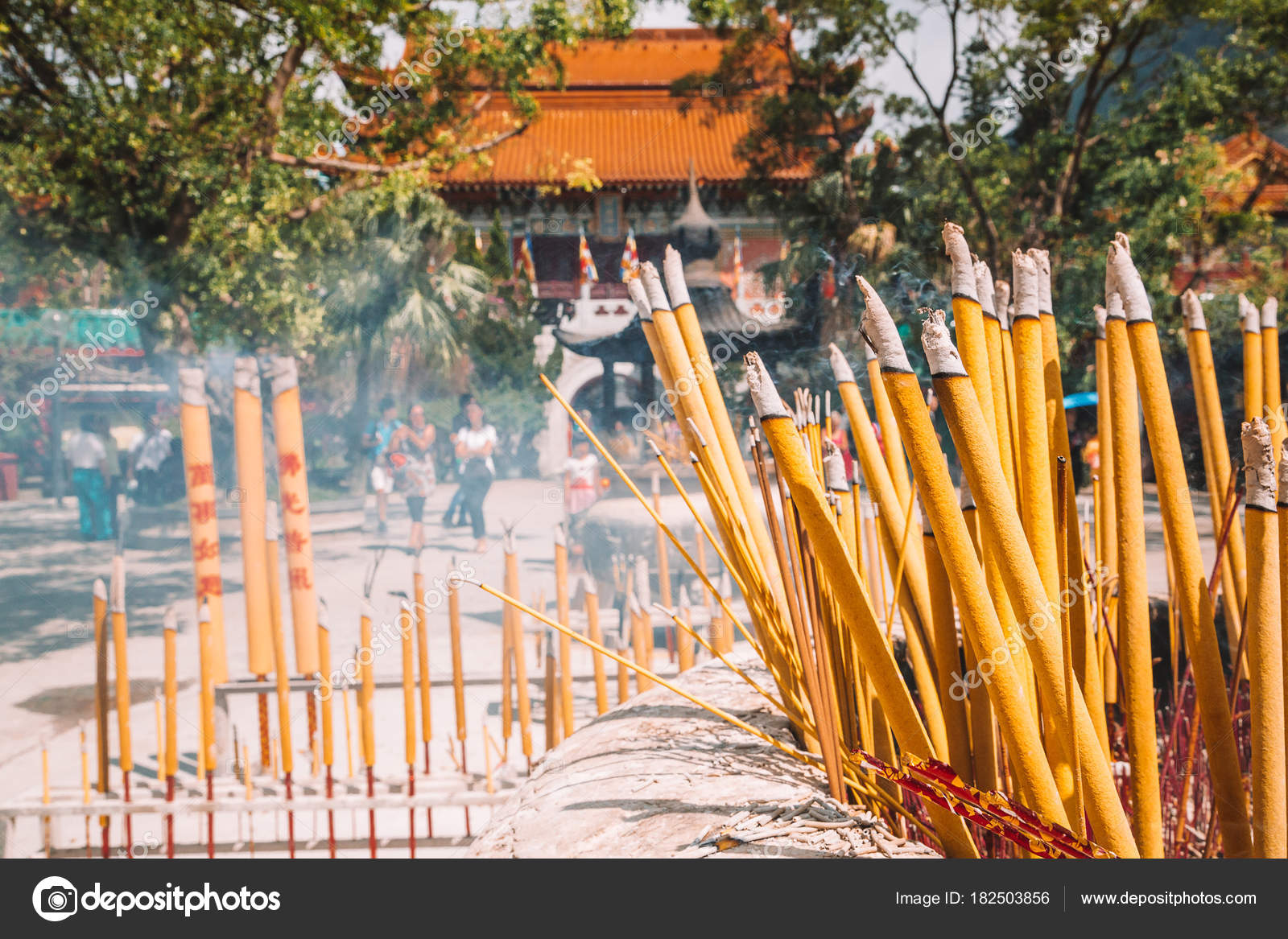 Closeup View Burning Incense Sticks Prayer Buddhist Temple