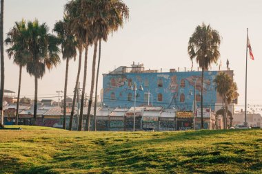 Panoramic view of an amazing artistic Venice beach district in Los Angeles. USA. April 10, 2017.