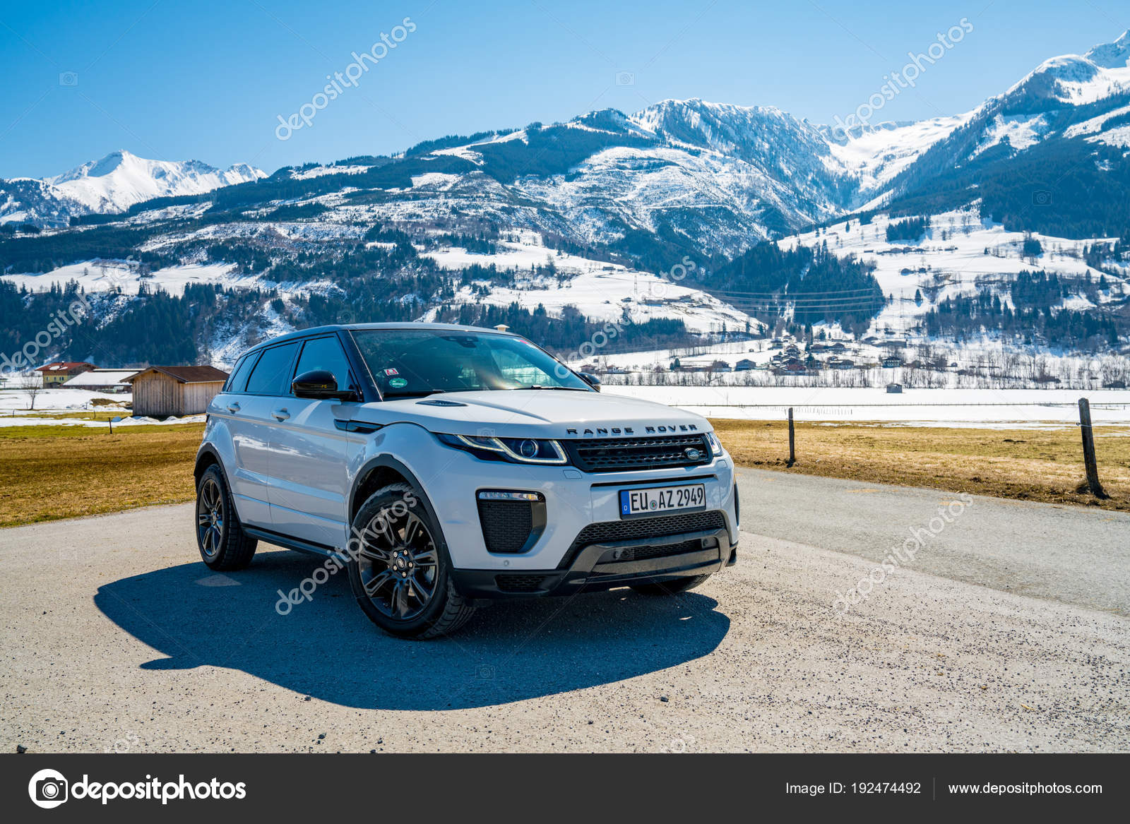 White Range Rover Evoque Austria Alps March 2018 Latest Brand Stock Photo