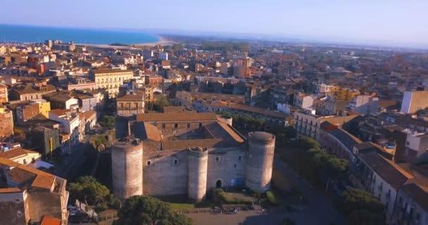 Veduta aerea del Castello Ursino, noto anche come Castello Svevo di Catania, è un castello in Catania, Sicilia, Sud Italia