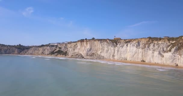 Aerial photo Stair of the Turks in Italian Scala dei Turchi rocky cliff on coast of Realmonte near Porto Empedocle southern Sicily Italy it has become popular tourist attraction