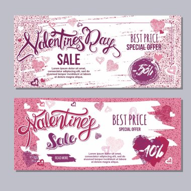 Happy valentine day flyer template with hand drawn lettering. 14 February  banner set with decorative hearts stock vector