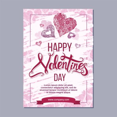 Happy valentine day poster template with hand drawn lettering. 14 February  banner with decorative hearts on background stock vector