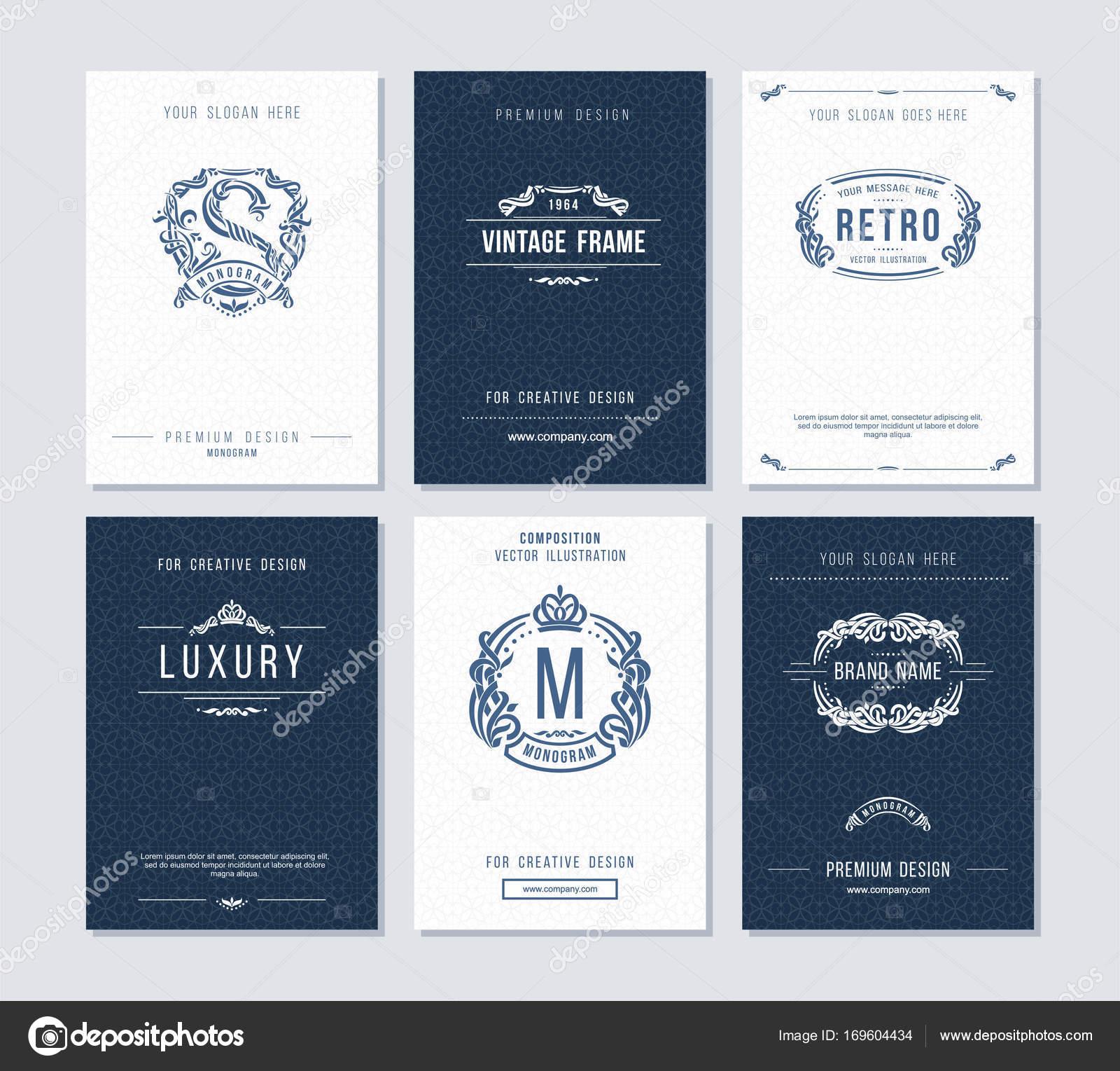 Plantilla de tarjetas de visita con monograma, logotipo, estructura ...