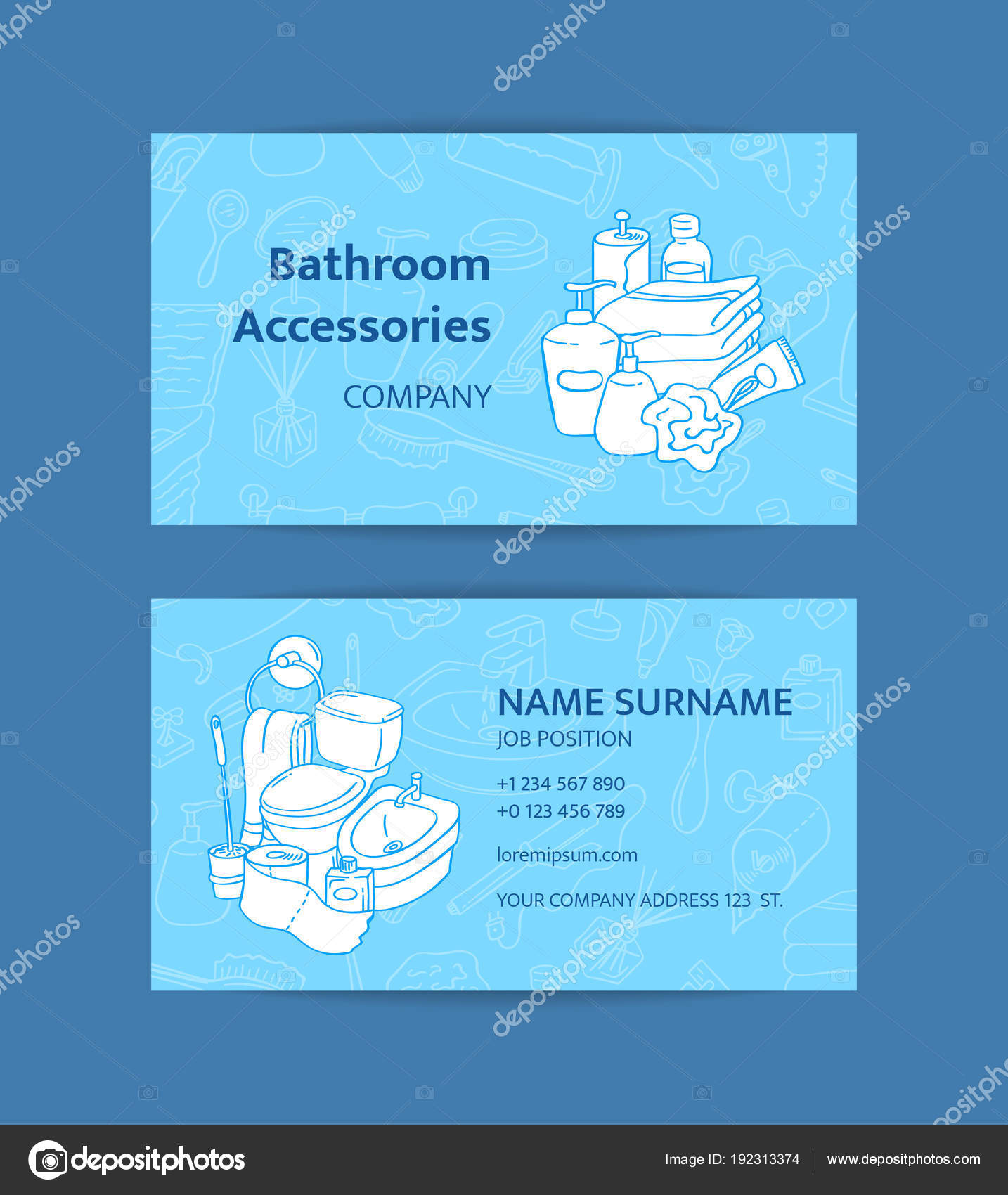 Vector business card template with hand drawn doodle bathroom vector business card template with hand drawn doodle bathroom elements for bathroom accessories shop stock colourmoves