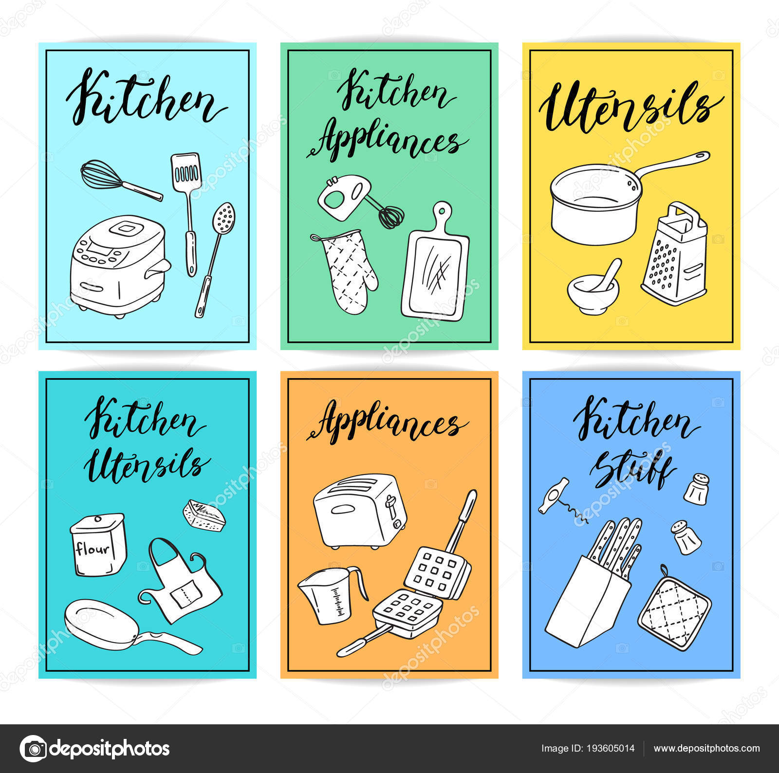 Vector kitchen utensils doodle icons card template set with cute ...
