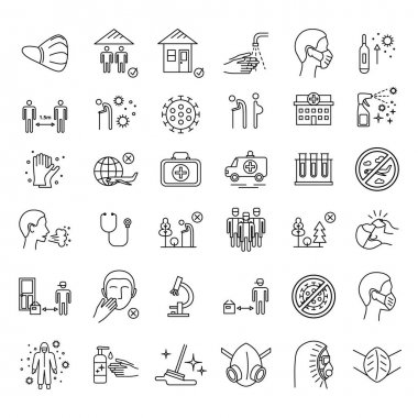 Vector coronavirus covid-19 line icons set. Thin line mask, virus, hospital, respiratory disease prevention, quarantine icons isolated pack. Selfisolation and social distance, elderly people elements icon