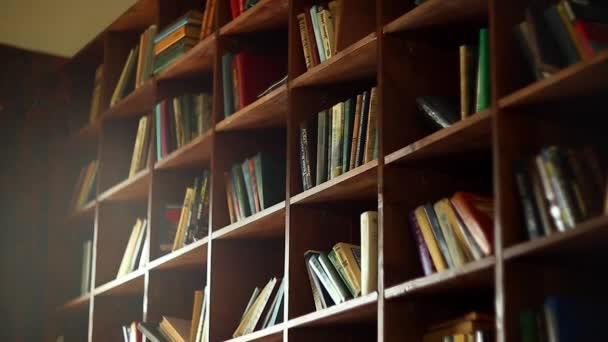 Police na knihy v univerzitní knihovně se spoustou knih