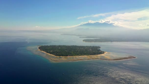 Aerial view of beautiful tropical island with villas and resorts inside. Gili Air, Indonesia