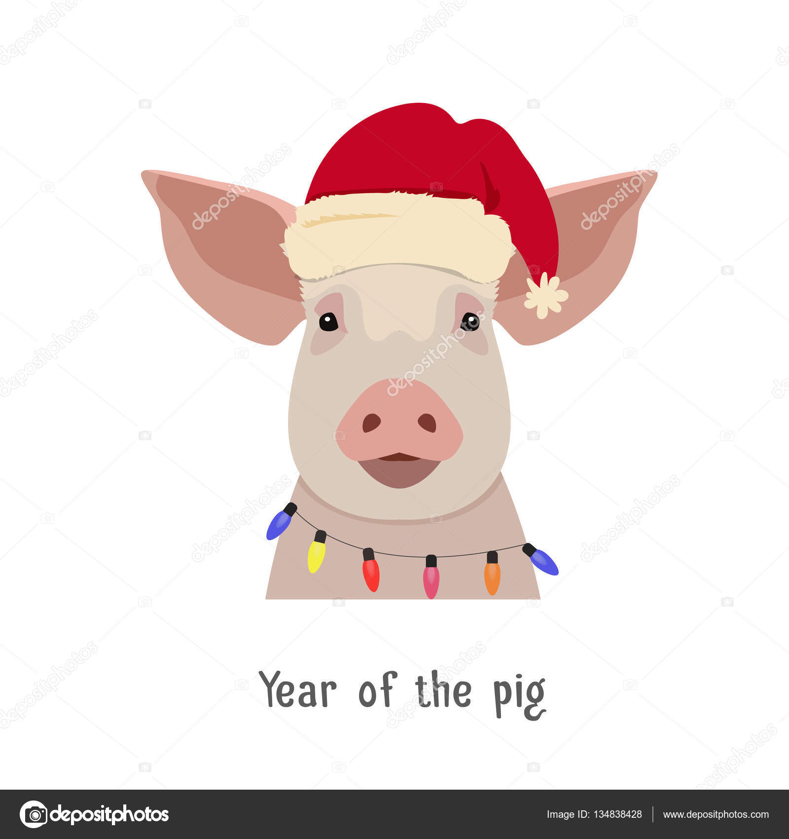 vector pig head in winter new year clothing stock vector