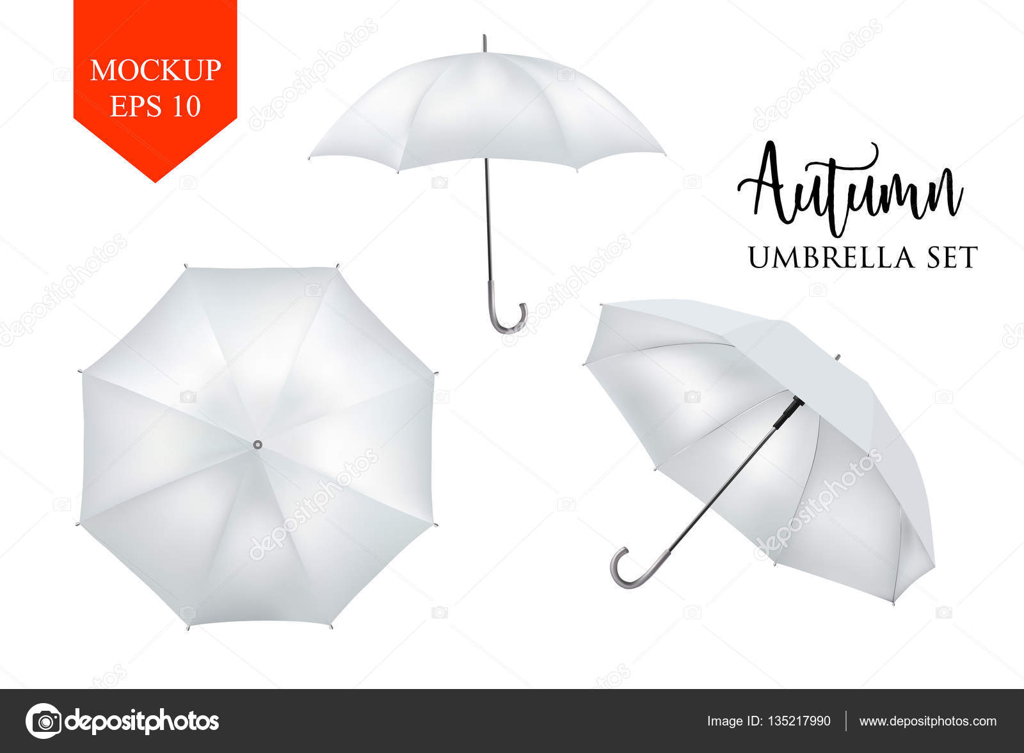 Vector realista sombrilla, paraguas sombrilla conjunto de lluvia ...