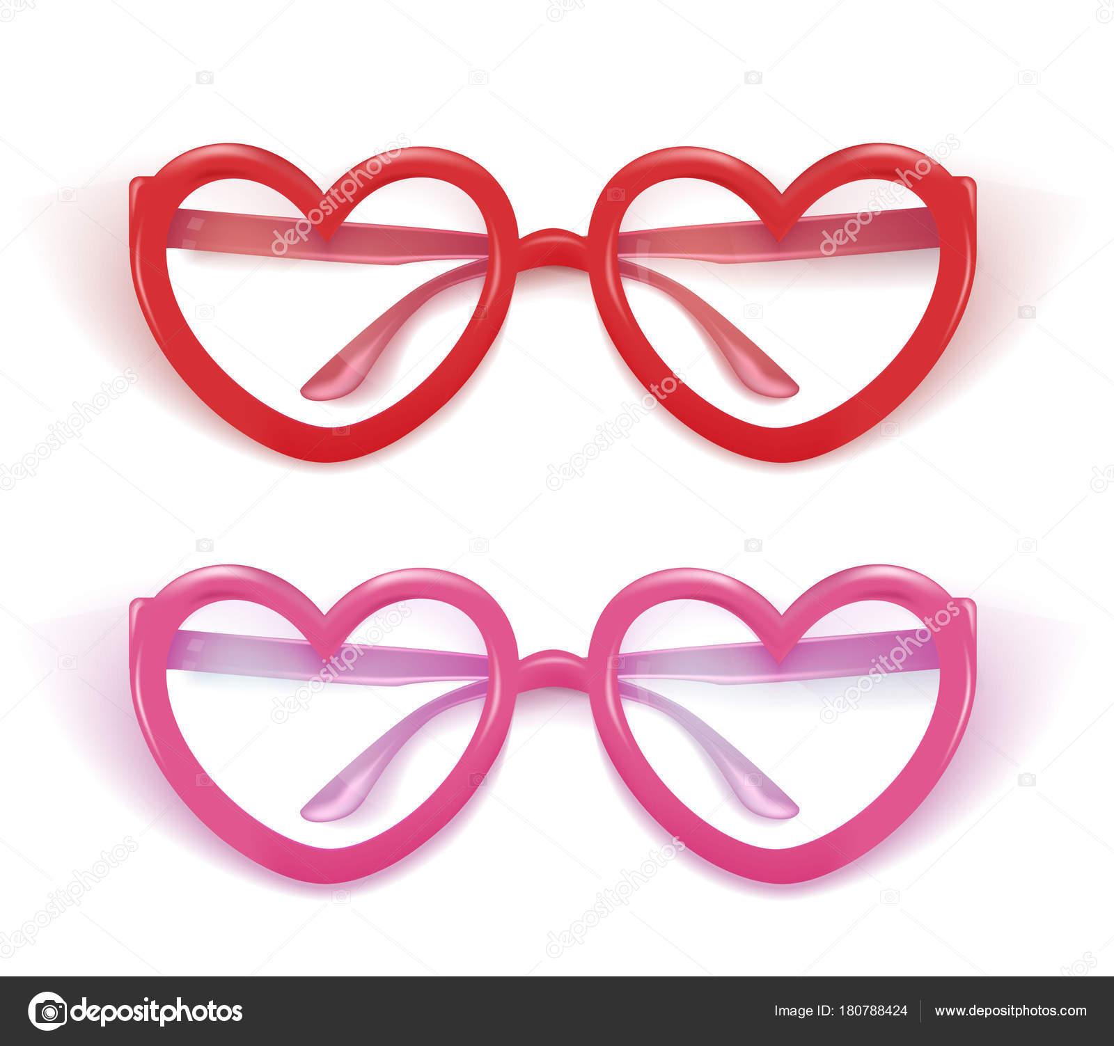 9377fe61291 Vector realistic eyeglasses heart shape photobooth — Stock Vector ...