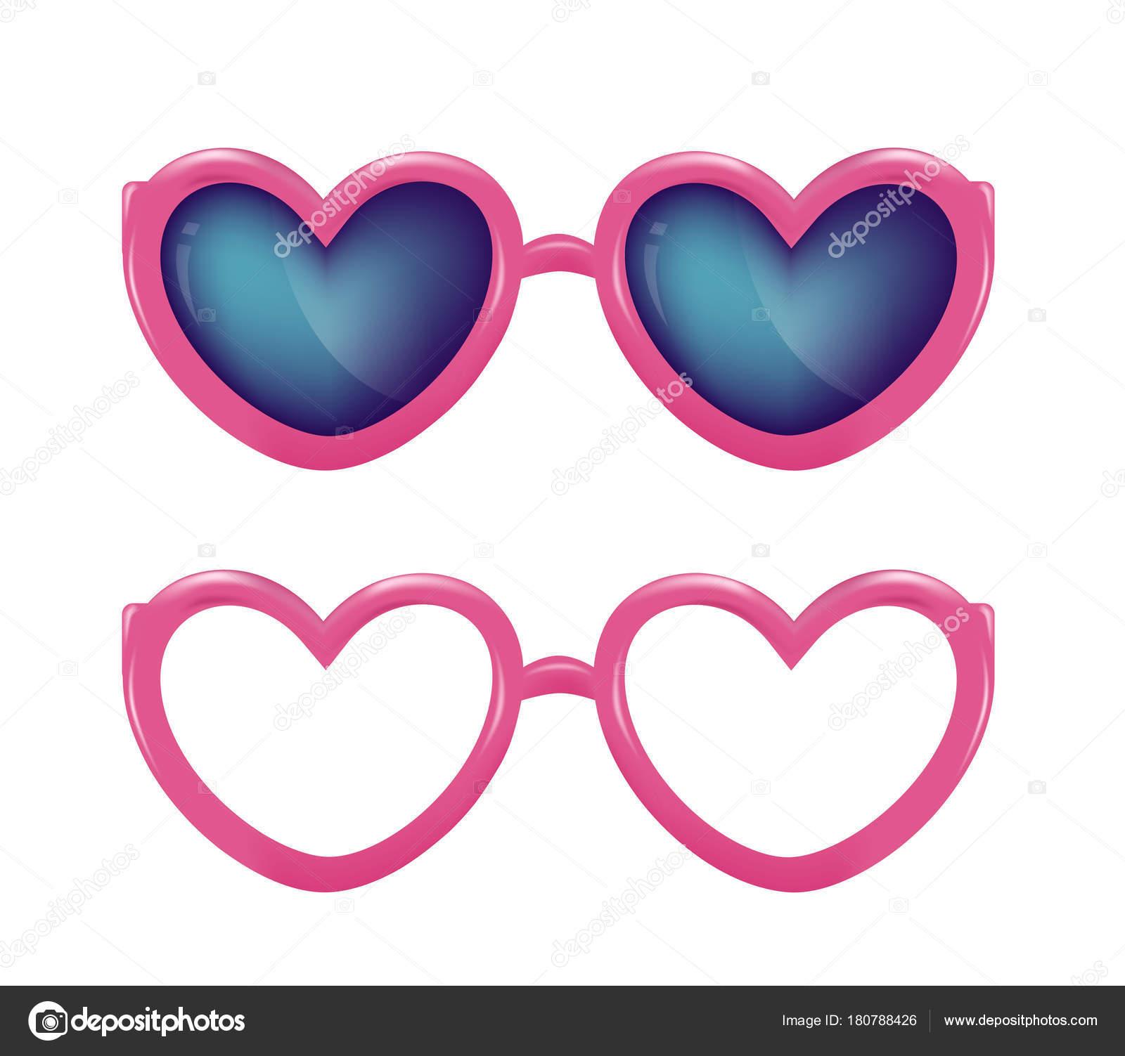 01f574ecb7 Vectores realistas anteojos corazón forma photobooth — Archivo Imágenes  Vectoriales