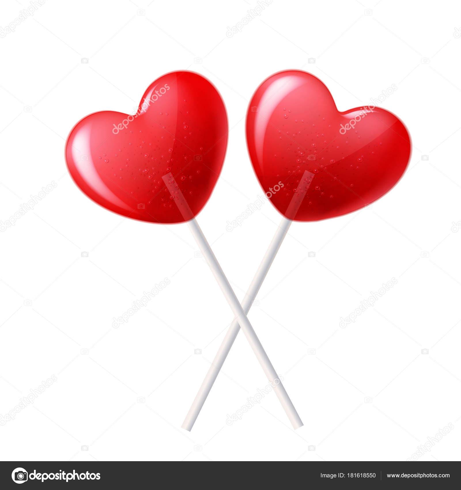 Vector corazón piruleta caramelo 3d San Valentín día dulce ...