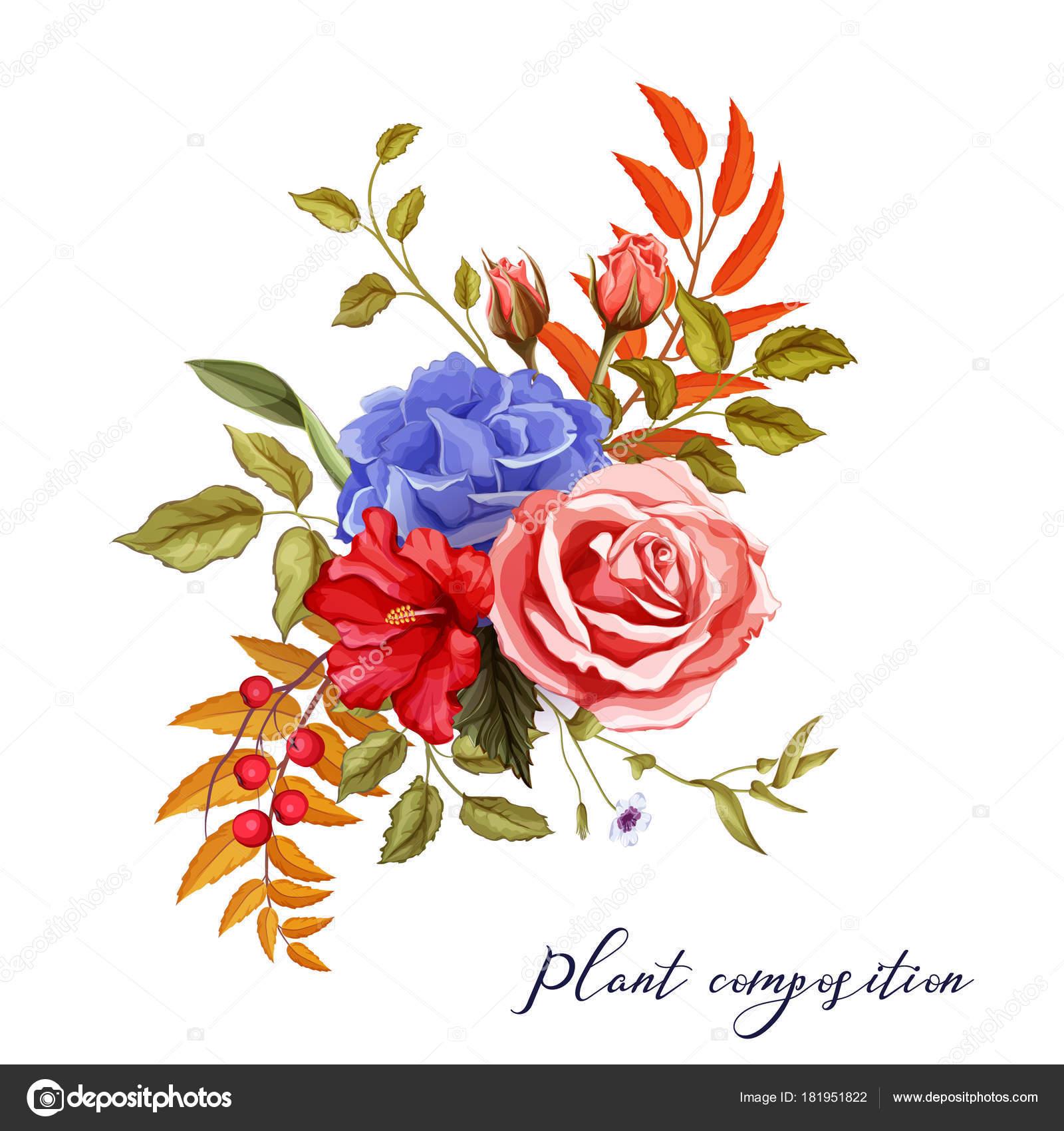 Vector Autumn Spring Summer Flower Rose Bouquet Stock Vector