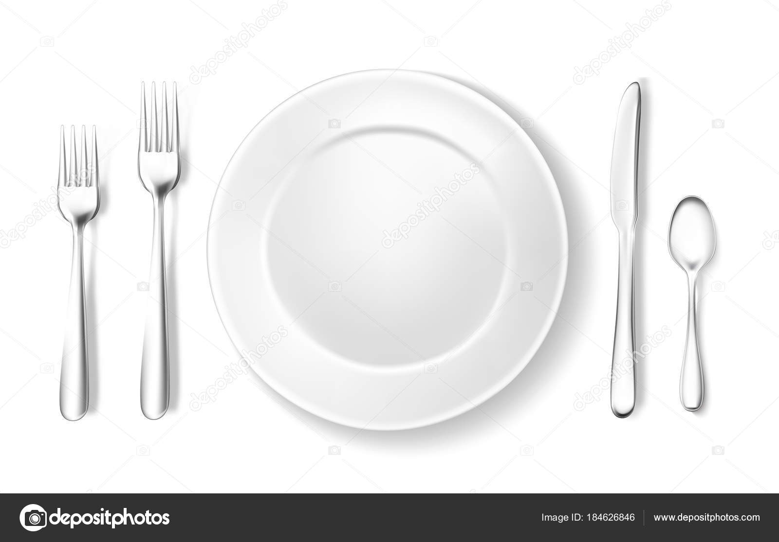 Realistic table setting, arrangement fork spoon — Stock Vector ...