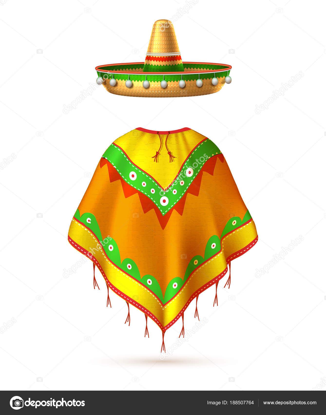 Sombrero realista mexicano sombrero y poncho hombre silueta. 3D cinco de mayo  festival fiesta mexicana tradicional celebración cartel elemento de diseño. d3c73ee866e