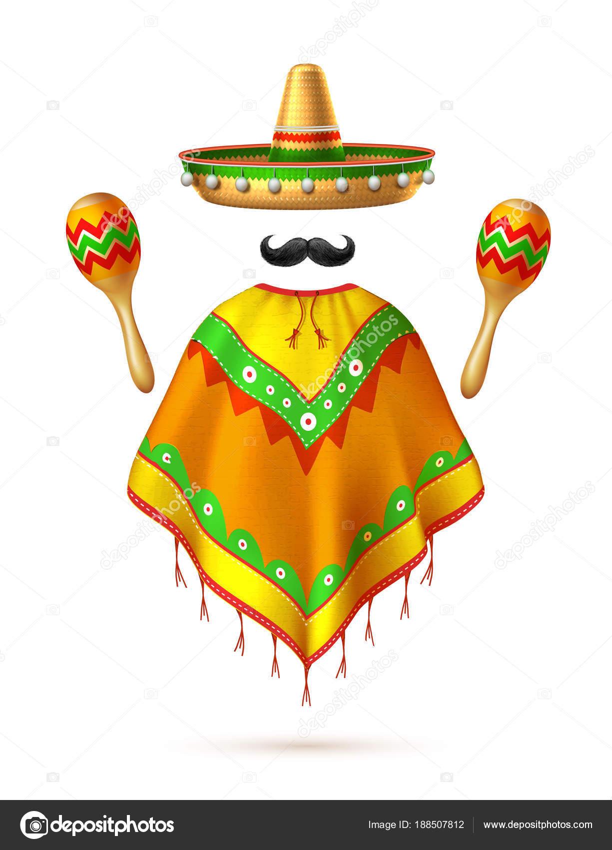 Mayo de de vector sombrero sombrero mexicano bigote cinco — Archivo  Imágenes Vectoriales 4b6f4ed2112