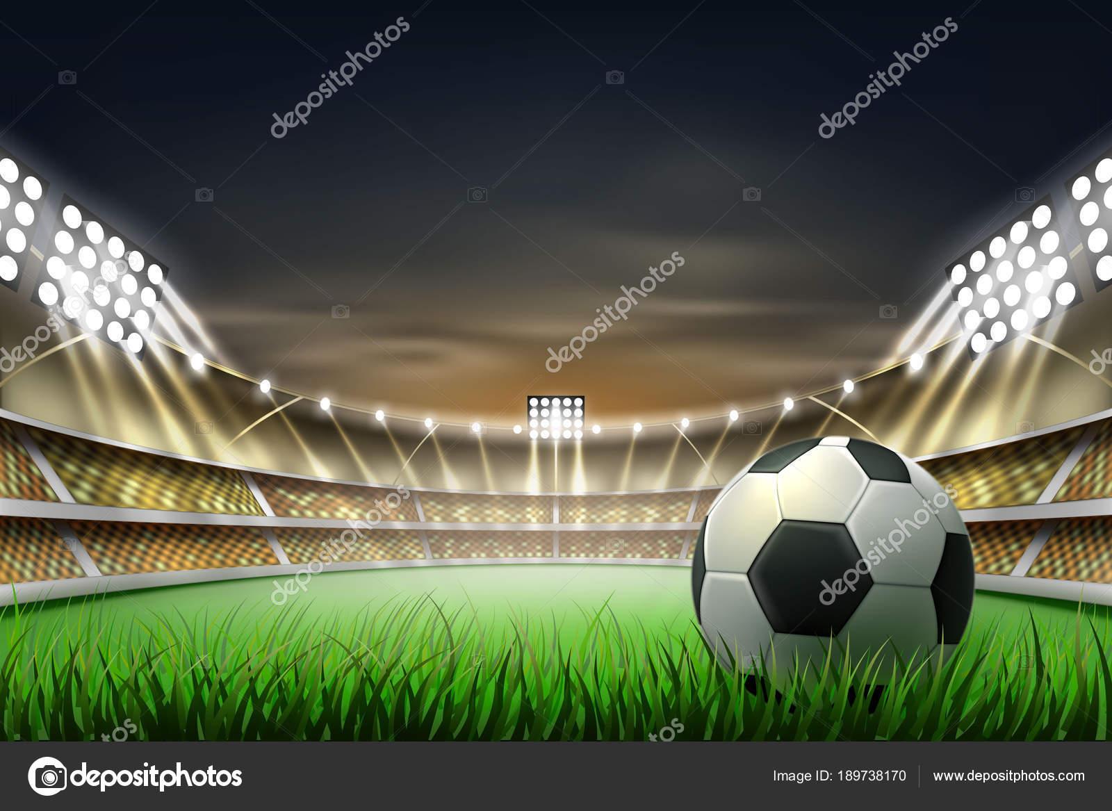 Vektor Realistische Fussball Fussball Stadion Hintergrund