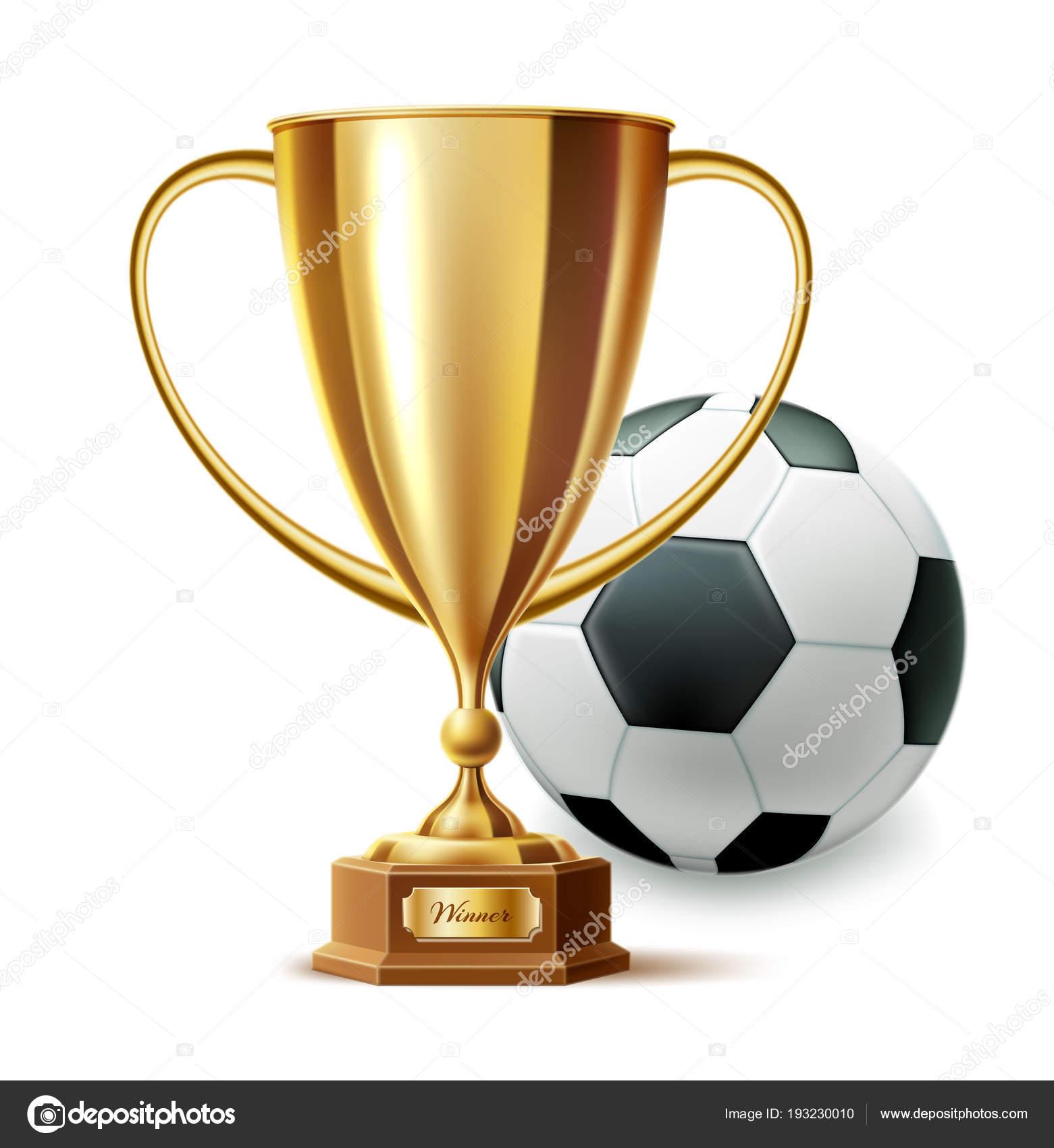 Vektor Realistische Goldene Trophae Pokal Fussball