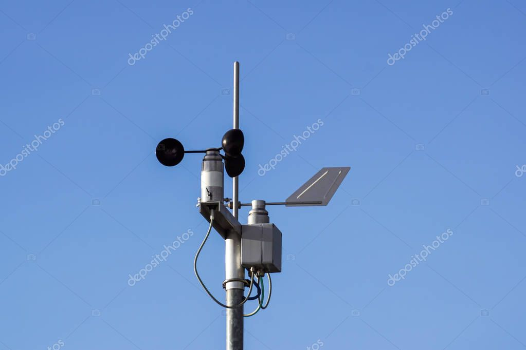 Devices meteorological station on the blue background of the sky