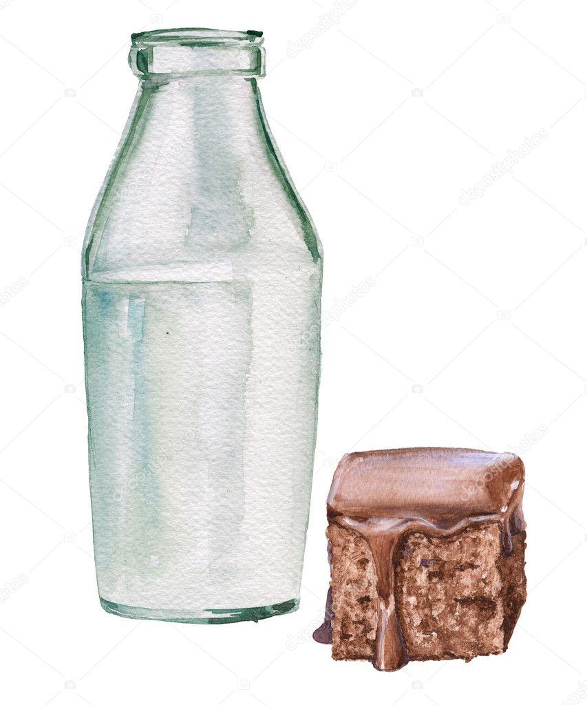 Cam şişe Süt Ve çikolata Kek Sulu Boya Resim Izole Stok Foto