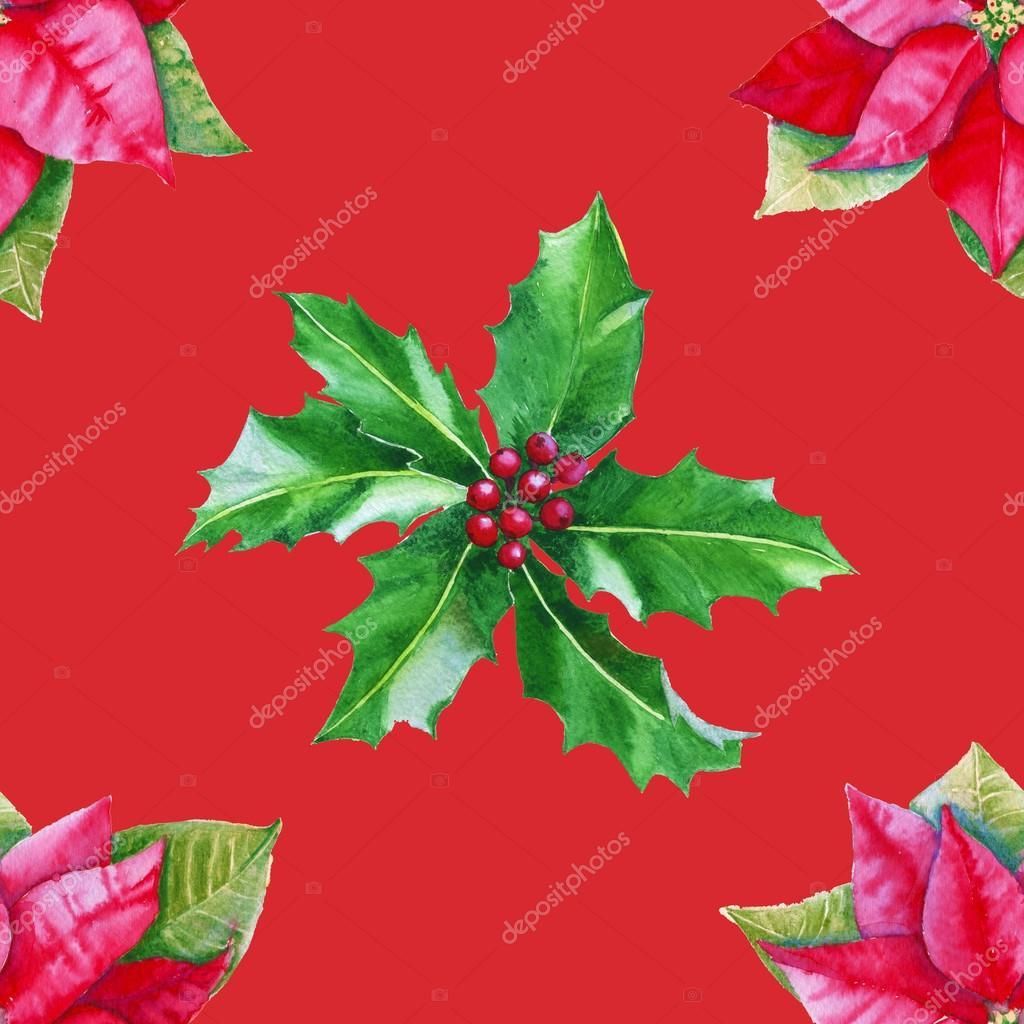 Stella Di Natale Cartamodello.Foglie Di Sfondo Con Stella Di Natale E Agrifoglio Modello Senza